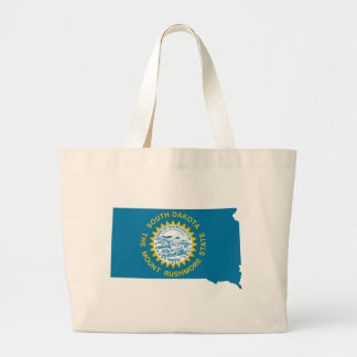 Flag Map Of South Dakota Large Tote Bag