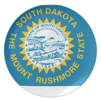 Flag Map Of South Dakota Plate