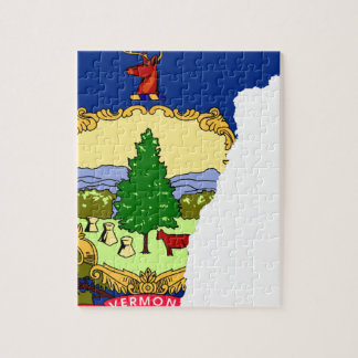 Flag Map Of Vermont Jigsaw Puzzle