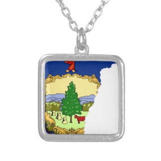 Flag Map Of Vermont Silver Plated Necklace