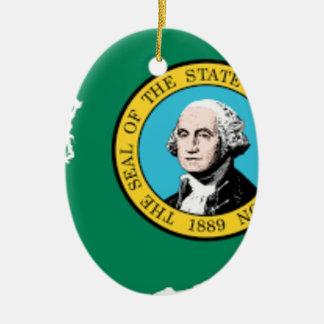 Flag Map Of Washington Ceramic Ornament