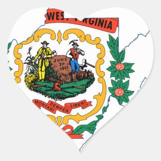 Flag Map Of West Virginia Heart Sticker