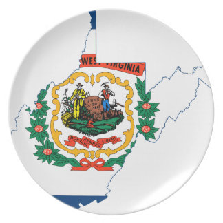Flag Map Of West Virginia Plate