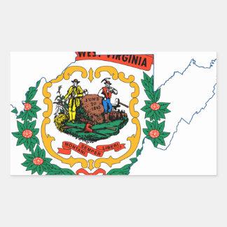 Flag Map Of West Virginia Rectangular Sticker