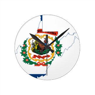 Flag Map Of West Virginia Round Clock