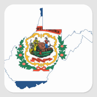 Flag Map Of West Virginia Square Sticker