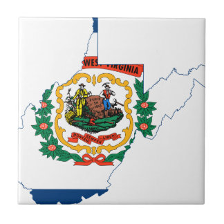 Flag Map Of West Virginia Tile