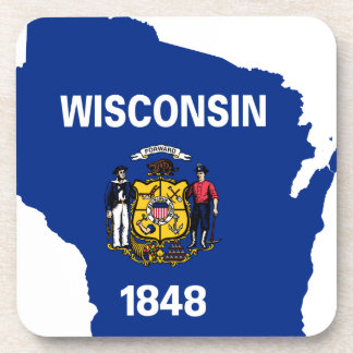 Flag Map Of Wisconsin Coaster