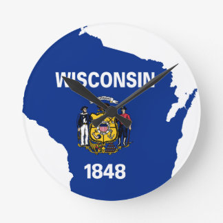 Flag Map Of Wisconsin Round Clock