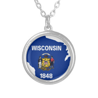 Flag Map Of Wisconsin Silver Plated Necklace