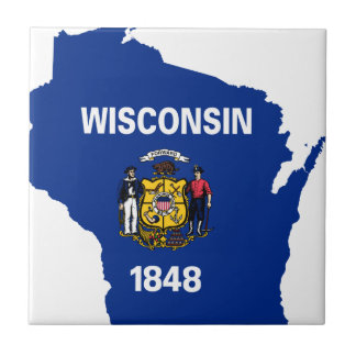 Flag Map Of Wisconsin Tile