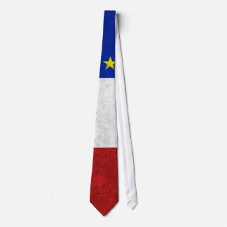 Flag of Acadia Distressed Grunge Tie