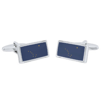 Flag of Alaska Cufflinks Silver Finish Cuff Links