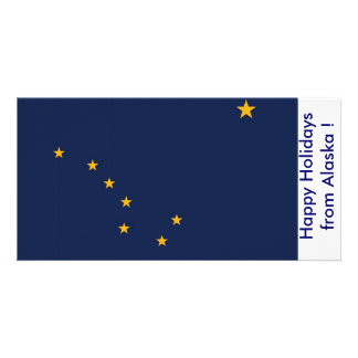 Flag of Alaska, Happy Holidays from U.S.A. Customised Photo Card