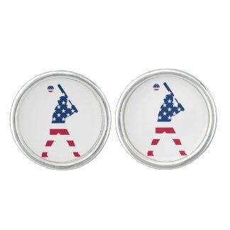 Flag of America Baseball American Cufflinks