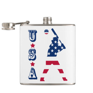 Flag of America Baseball American Hip Flask