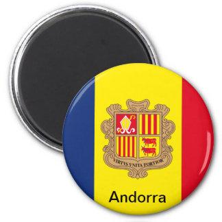 Flag of Andorra 6 Cm Round Magnet