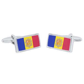 Flag of Andorra Cufflinks Silver Finish Cufflinks