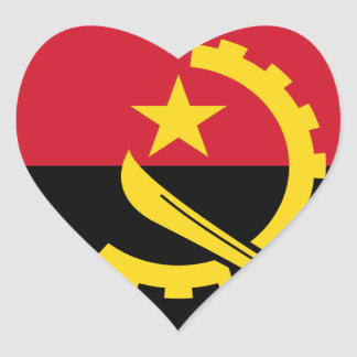 Flag of Angola - Bandeira de Angola Heart Sticker