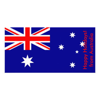 Flag of Argentina, Happy Holidays from Australia Photo Greeting Card