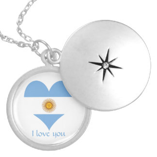 Flag of Argentina Silver Plated Necklace