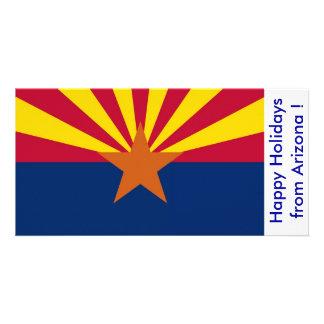 Flag of Arizona, Happy Holidays from U.S.A. Customized Photo Card
