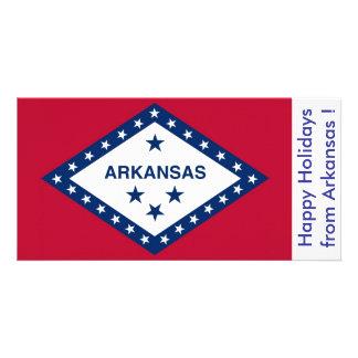 Flag of Arkansas, Happy Holidays from U.S.A. Customised Photo Card