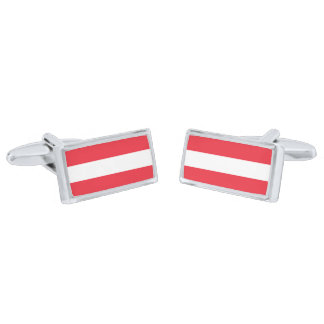 Flag of Austria Cufflinks Silver Finish Cufflinks