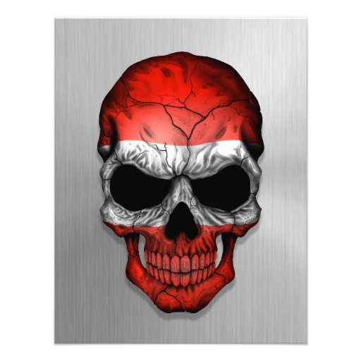 Flag of Austria on a Steel Skull Graphic Personalized Announcements