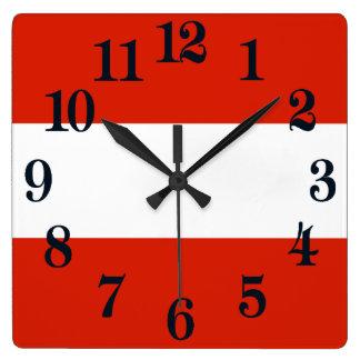 Flag of Austria Square Wall Clock