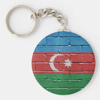 Flag of Azerbaijan Basic Round Button Key Ring