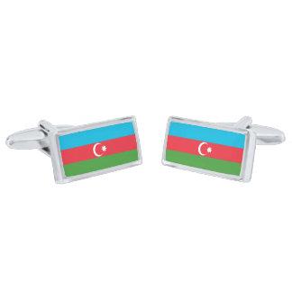 Flag of Azerbaijan Cufflinks Silver Finish Cufflinks