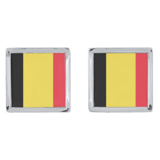 Flag of Belgium Cufflinks Silver Finish Cufflinks