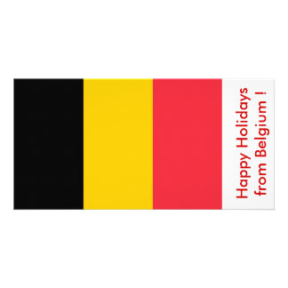Flag of Belgium, Happy Holidays from Belgium Photo Greeting Card