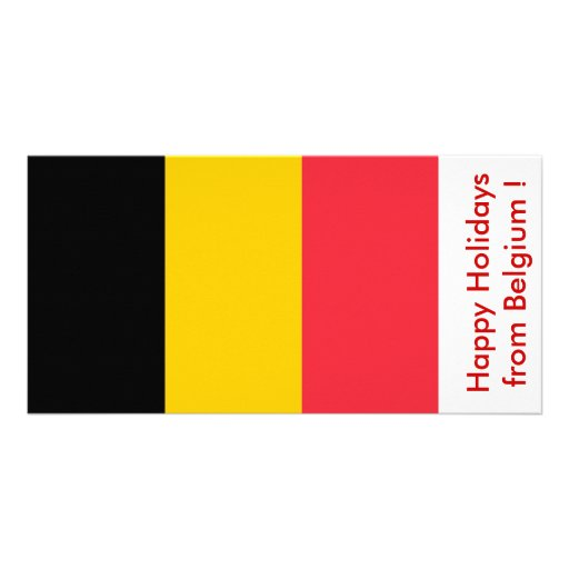 Flag of Belgium, Happy Holidays from Belgium Photo Greeting Card