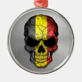Flag of Belgium on a Steel Skull Graphic Silver-Colored Round Decoration