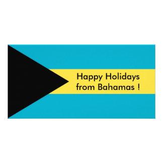 Flag of Belize, Happy Holidays from Bahamas Personalised Photo Card