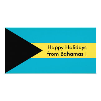 Flag of Belize, Happy Holidays from Bahamas Personalised Photo Card