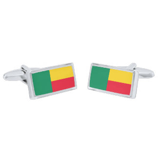Flag of Benin Cufflinks Silver Finish Cuff Links