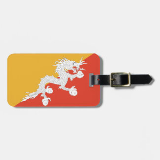 Flag of Bhutan Luggage Tag w/ leather strap
