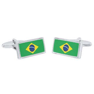 Flag of Brazil Cufflinks Silver Finish Cufflinks