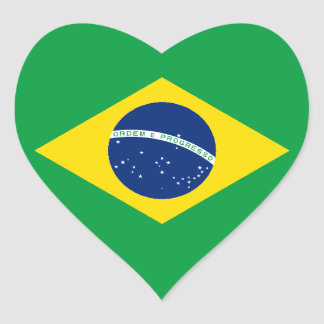 Flag of Brazil Heart Sticker