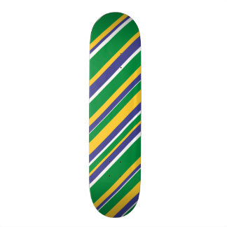Flag of Brazil Inspired Colored Stripes Pattern 21.3 Cm Mini Skateboard Deck