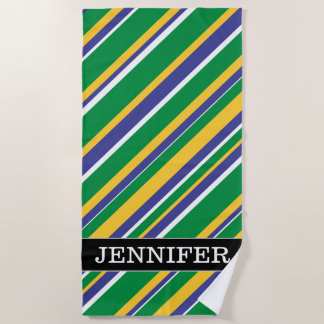 Flag of Brazil Inspired Colored Stripes Pattern Beach Towel