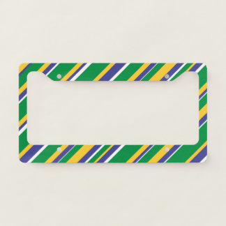 Flag of Brazil Inspired Colored Stripes Pattern Licence Plate Frame