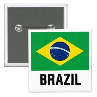 fLAG OF bRAZIL OUTLINE 15 Cm Square Badge