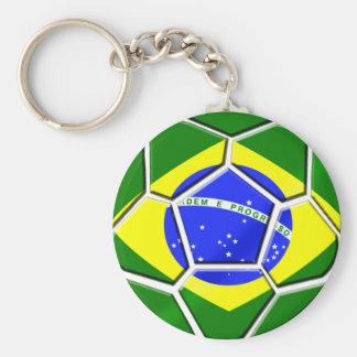 Flag of Brazil Soccer Ball panels for Futebol fans Basic Round Button Key Ring