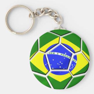 Flag of Brazil Soccer Ball panels for Futebol fans Key Ring