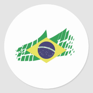 Flag of Brazil style Round Sticker