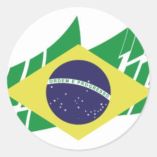 Flag of Brazil style Round Sticker